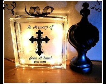 Memorial Glass Block, In Memory of, Glass Block, Night Light, Remembrance Block, Remembrance Light