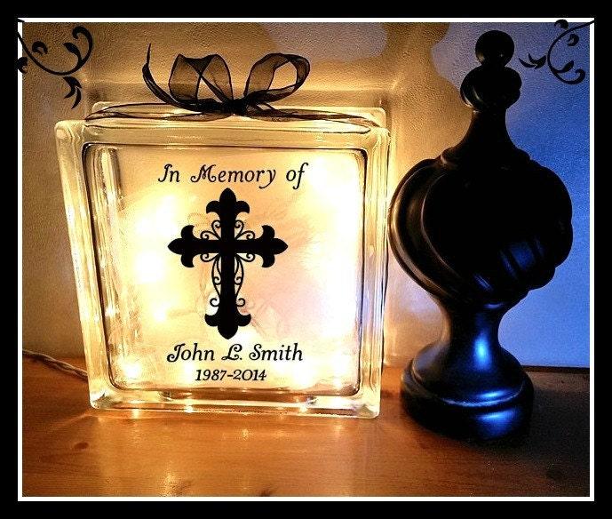 Memorial Glass Block In Memory Of Glass Block Night Light