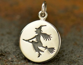 Sterling Silver, Witch Charm, Halloween Charm, Silver Witch Charm, Silver Witch, Witch Jewelry, Halloween Jewelry, Witch on Broom