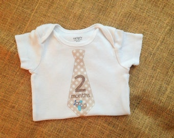 Two Month Tie Onesie - Baby Boy