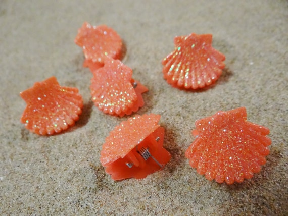 6 pc Orange Glitter Shell Seashell Clam Clamshell Hairclip Hair Clip Accessory Claw Mermaid Ariel Accessories Butterfly Clips