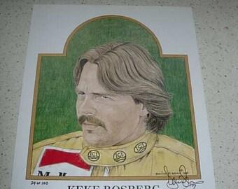 limited edition print of keke roseberg, f1 world champion 1982