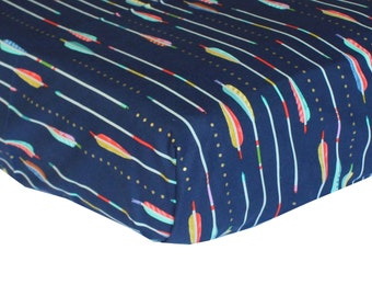 Fitted Crib Sheet: Arrows on Navy (Boy Baby Bedding)   Bold Bedding