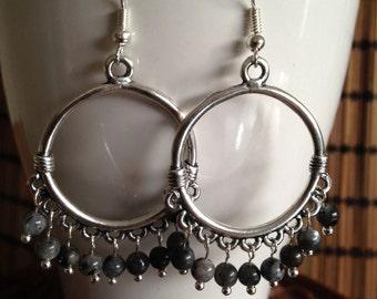Bohemian earrings, Boho Earrings, Silver Labradorite, Bali  earrings, Ethnic earrings, Tribal earrings, Hippie earrings, Gypsy earrings