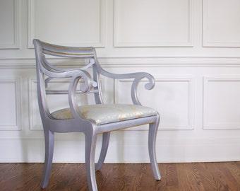 Vintage French Armchair, Powder Blue Armchair, Blue Dining Room Chair, Vintage French Regency
