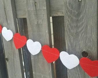 Red and White heart felt garland