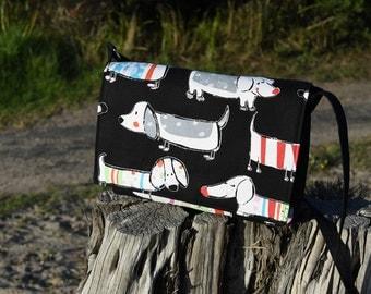 Lots A Dogs Dachshund Print Messenger Handbag