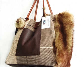 FUR,LEATHER and CANVAS totebag