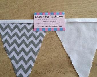 Grey And White Chevron Zig Zag And White Cotton Fabric Bunting per metre