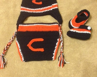 Crochet baby boy outfit Chicago Bears inspired