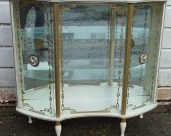 1960's White & Gold Glass Display Cabinet