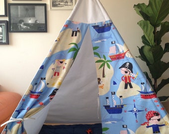 Pirate themed fabric Teepee,chidrens play tent+ mat+wooden poles