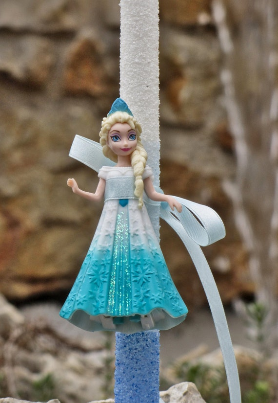 Greek Easter candle lampada with Princess Elsa Frozen