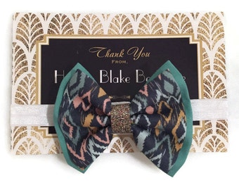 Teal Ikat Two Layer Fabric Bow