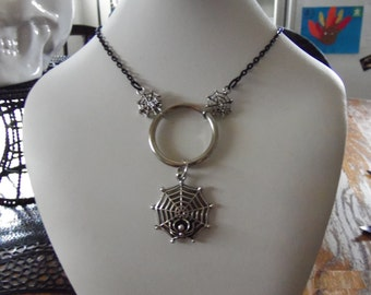 Spider web ring necklace
