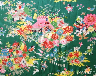 Japanese fabric, 1/2 yard, Mukashi Banashi (Folk Tale), Green, 100% cotton