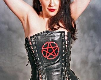 "1X  2X 3X plus size  steel boned Pentagram leather corset  34"" Biker Fetish lingerie wiccan pagan baphomat"