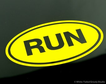 RUN OVAL Decal - Vehicle Decal - Car Window Decal - Vehicle Sticker - White Oval - Running Decal - Runner Decal - Running Sticker - Run