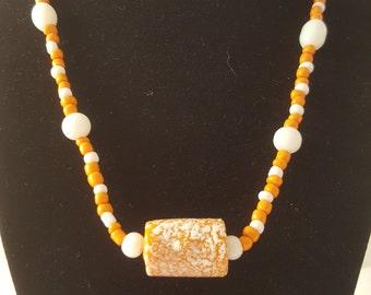 Orange & White Necklace  Orange Necklace - White Necklace - Glass Bead Necklace - Women's Necklace - Glass Necklace - Glass Bead Jewelry