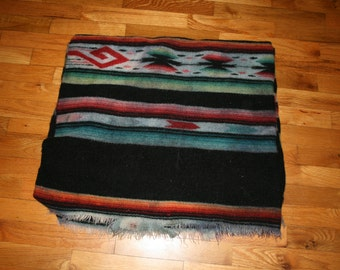 Vintage Wool Blanket Indian Pattern