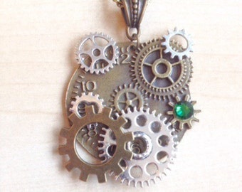 Steampunk with COGS, gears and green Crystal Necklace