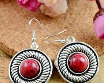 Red turquoise gem earrings
