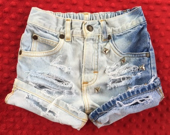 baby girl toddler distressed ombre bleached denim jeans studded rollup shorts