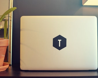 Simple Hexagon Letter - Laptop Decal