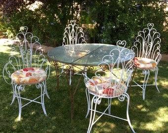 Iron Garden Furniture Vintage vintage wrought iron patio furniture | etsy