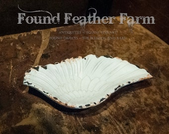 Vintage Milk White Angel Wing Dish