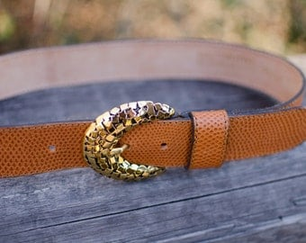 Vintage Doppia Vita Leather Belt with Gold Buckle
