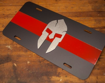 Spartan Thin Red Line License Plate