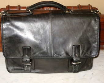 Coach Full Flap Thompson Black Leather Multi Gusseted Briefcase Attache Laptop IPad Case - No Strap