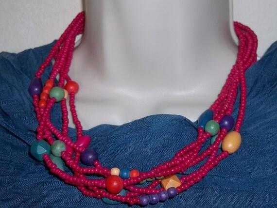 "Vintage Hot Pink Multi-Color Multi Strand Wooden 18""-20"" Adjustable Geometric Necklace"