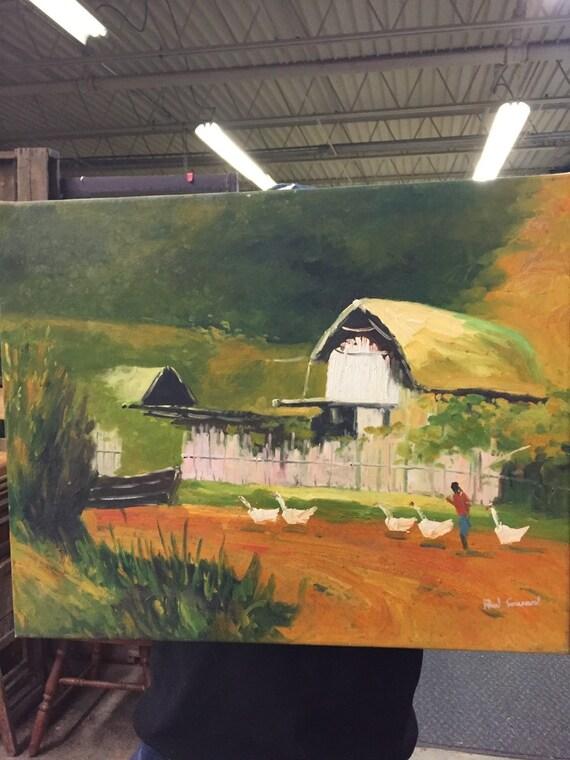 Paul Savard on Canvas Farmhouse Scene