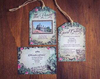 Alice in Wonderland Invitation suite | Vintage Tags | RSVP card