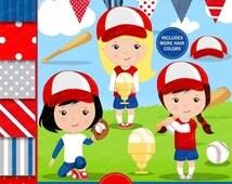 80% OFF SALE Baseball clipart, Baseball girl, Baseball digital papers, Girl clipart, Girl sports clipart, Digital images - CL138