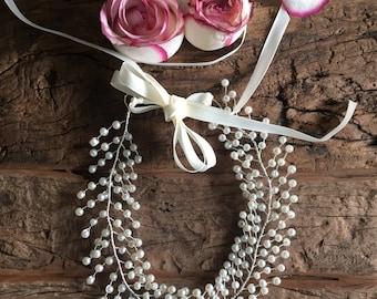 Wedding headband bridal headpiece with pearls bridal vine bridal headband bridal hairpiece wedding accessorise