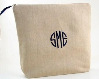 Monogrammed Lingerie Bag //  Linen Lingerie Bag // Travel Lingerie Bag // Personalized Linen Toiletry Bag // Gifts for Her