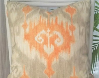 Richloom Ikat Pillow Cover - orange, gray, cream