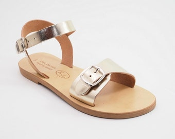 Greek cowhide leather sandals (39 - Gold)