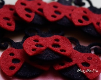 Felt Ladybugs, Felt Ladybirds, Black and Red Die Cut Bugs, Felt Insects, Felt Animals, Die Cut Craft Embellishments by Pretty Die Cuts