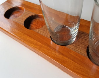 4-Glass Wood Beer flight paddle board -  Bourbon Flight