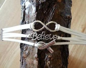 Lung Cancer Awareness Charm Bracelet