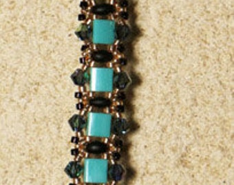 Bracelet turquoise black and gold