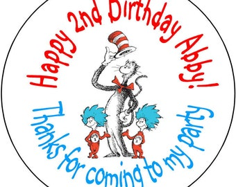 Dr Seuss Dr. thing one thing two  Birthday Party Stickers 1.67 inch Round Personalized kids kids Loot Bag Stickers