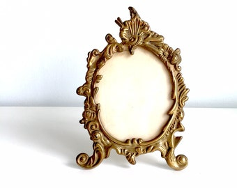 Charming Art Nouveau Ornate Brass Photo Frame