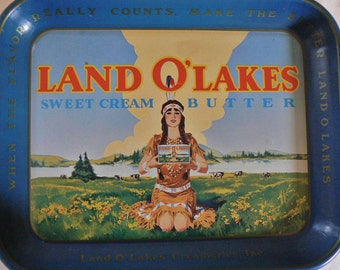 Vintage Land O' Lakes Serving Tray, Indian Maiden Advertising Sweet Cream Butter Metal Tray