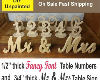 1-25 DIY Fancy Font Wood Table numbers And Mr and Mrs Sign combo