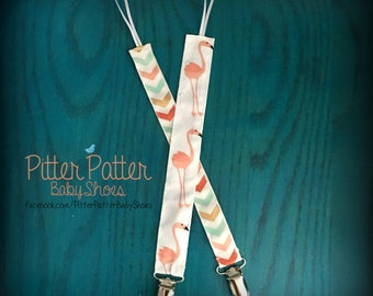 Pink Flamingo Pacifier Clip - Paci Clip - Binky Clip - Pink Flamingo Baby Gift - Baby Accessories - Flamingo Baby GIft - Baby Shower Gift